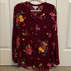 Burgundy floral tunic